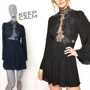 Free People Party Divine Mini Dress Black 0 Pleate